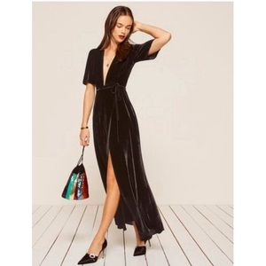 REFORMATION - VELVET WRAP DRESS